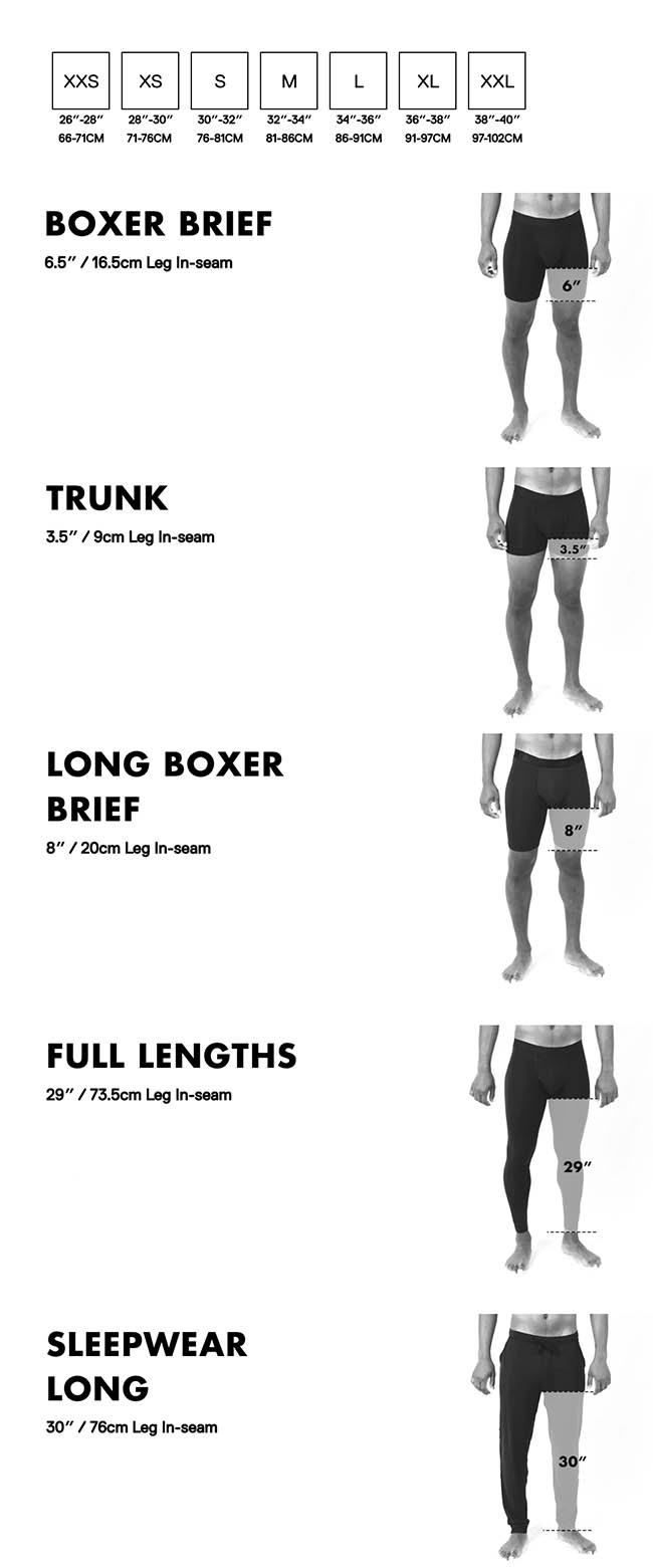BN3TH size chart for the best underwear for men on the market